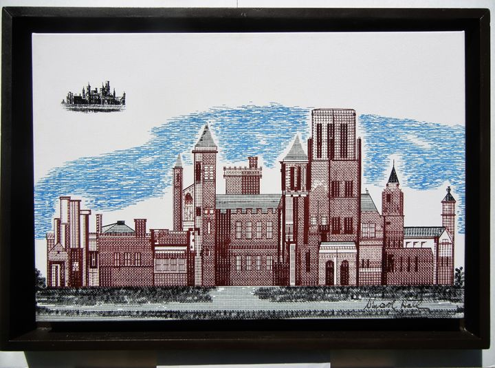 The Smithsonian Castle - New Medium: Typewriter Art on Canvas