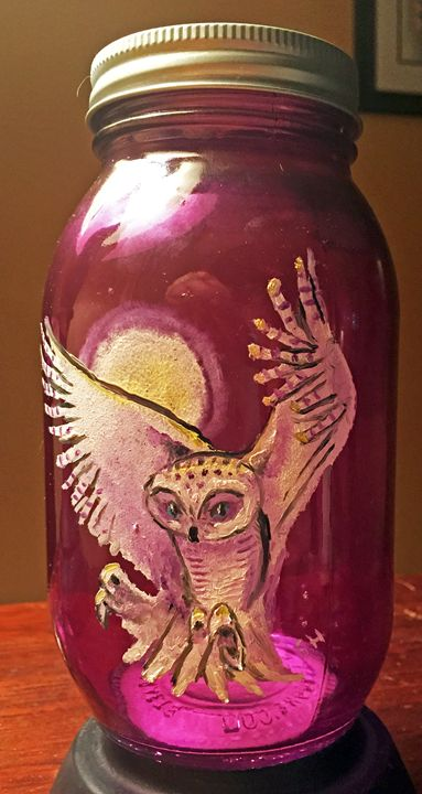 Screech Owl Purple Glass Art Jar - Sandra Hagan