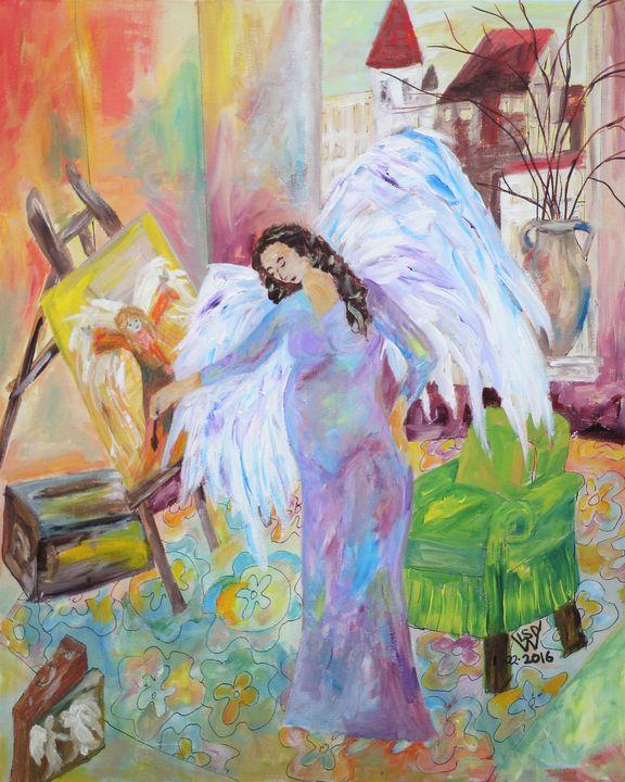 Purple Pregnant Painting Angel - Artistic Designs
