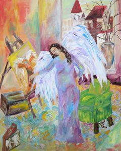 Purple Pregnant Painting Angel
