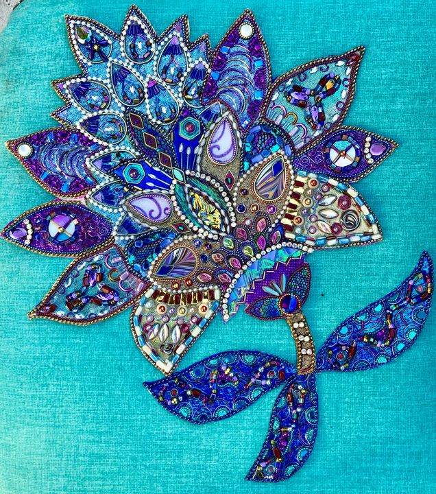 Royal Flower - Glimmer Glass Mixed Media Mosaics