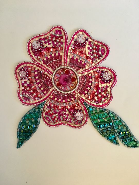 Rose Pink Wallflower - Glimmer Glass Mixed Media Mosaics