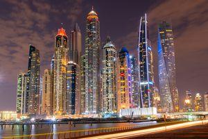 Dubai luxurious skyline at night