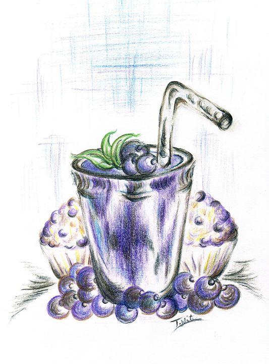 Blueberry Smoothie Baked  Muffins - Teresa white Delightful Art