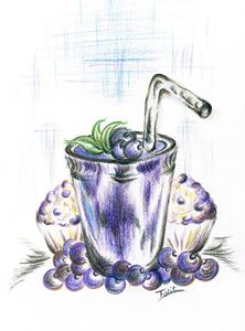 Blueberry Smoothie Baked  Muffins - Teresa white Delightful Art