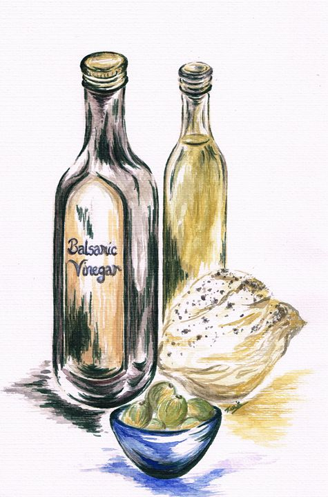 Olives with Bread and Dip - Teresa white Delightful Art