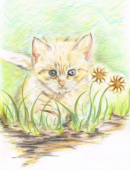 Kitty amongst the Flowers - Teresa white Delightful Art