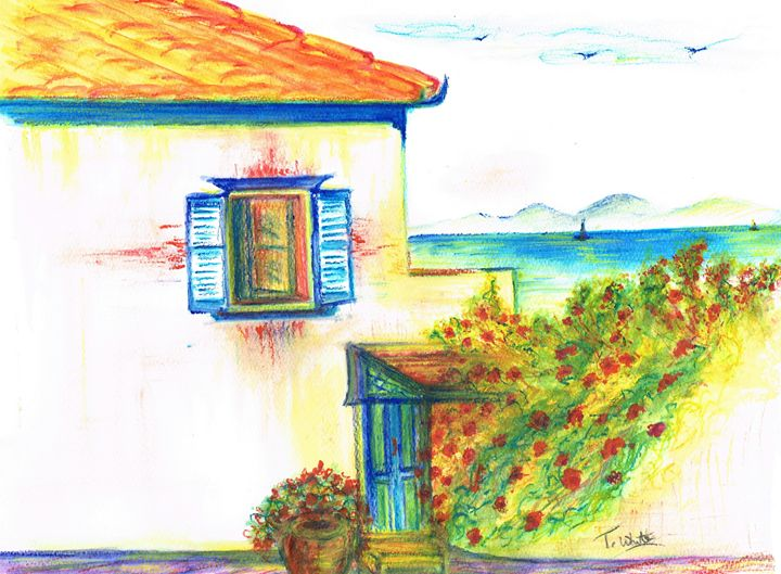 Hydra House Greek Island - Teresa white Delightful Art