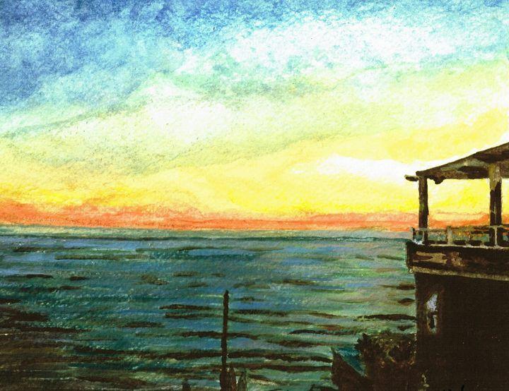 Ionian Sea Zanti Greek Island - Teresa white Delightful Art