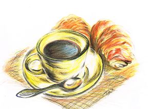 Morning Coffee with Croissants - Teresa white Delightful Art