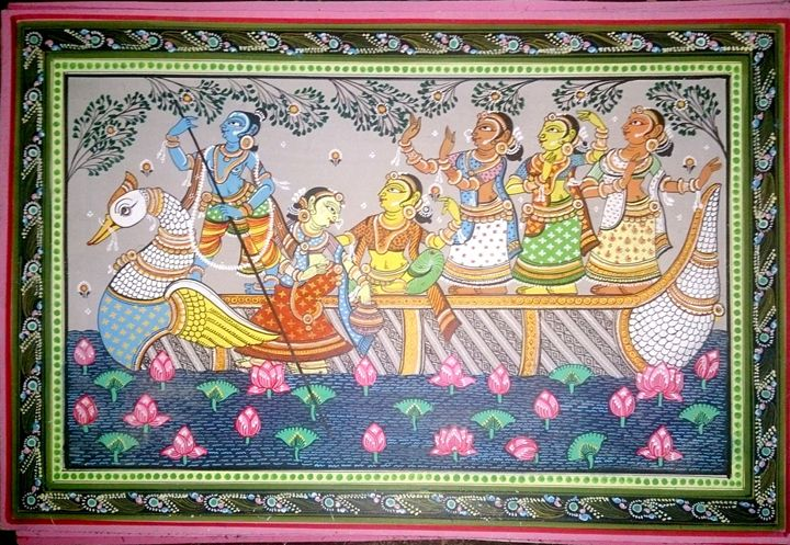 FOLK ART BOATING WITH GOPI - folk art