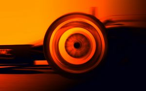 Wheel in Motion (Orange) - Motorsport Art