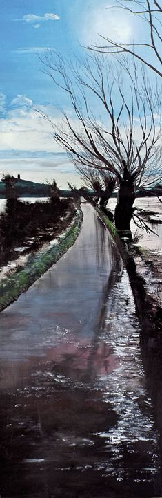 Flooded road, Glastonbury. - Cobbart