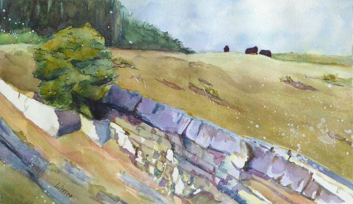 Rocky Meadow with Cows - Limor Dekel
