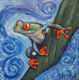 Original oil painting frog
