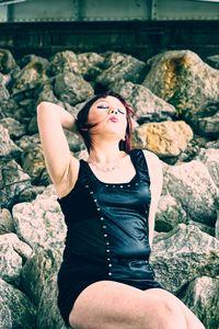 Ms. Kayla Posing On The Rocks