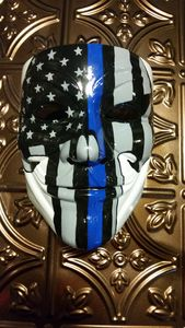 Hand Painted Blue Line Punisher Mask
