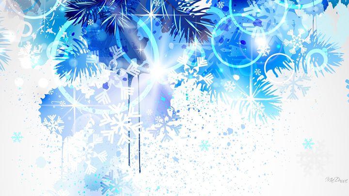 Winter Frost Blue Christmas Pine Fir - lucky the creator