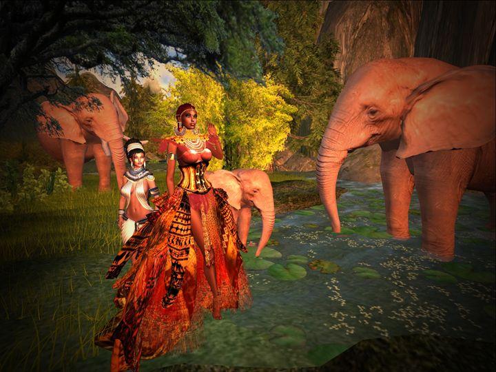 Lady Ndolovu with Elephants - Xanet Calbet