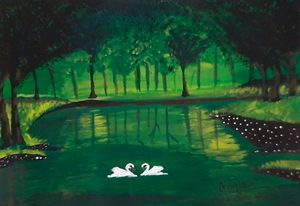 Swan lake in forest