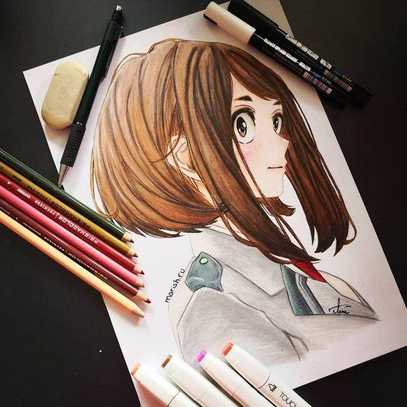Ochaco Uraraka From My Hero Academia Marish Ru Drawings Illustration Entertainment Television Anime Artpal
