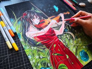 A Anime Girl Playing Violin