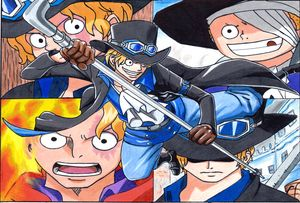 Sabo from One Piece Drawing Collage