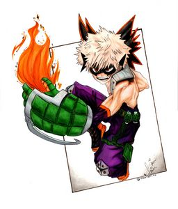 Katsuki Bakugo with fire Anime
