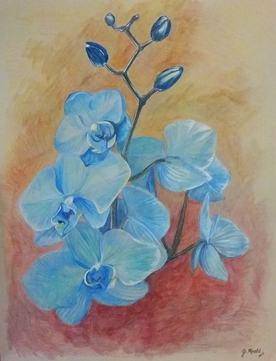 Blue Orchid - Mantel Art