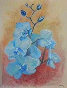Blue Orchid - Mantel Art