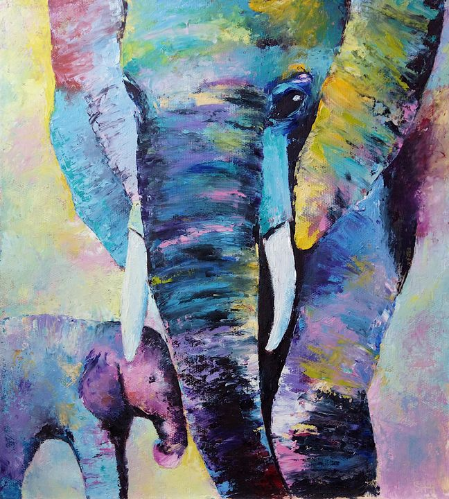 Rainbow Elephants - Paintings With Love