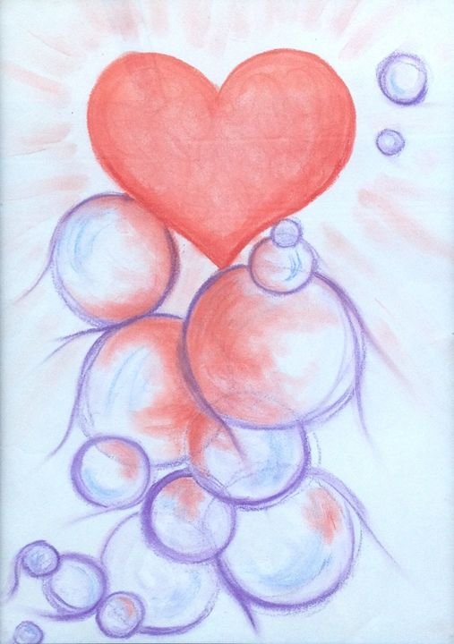 Heart and Purple Bubbles - Maria Kramer Artistic Designs