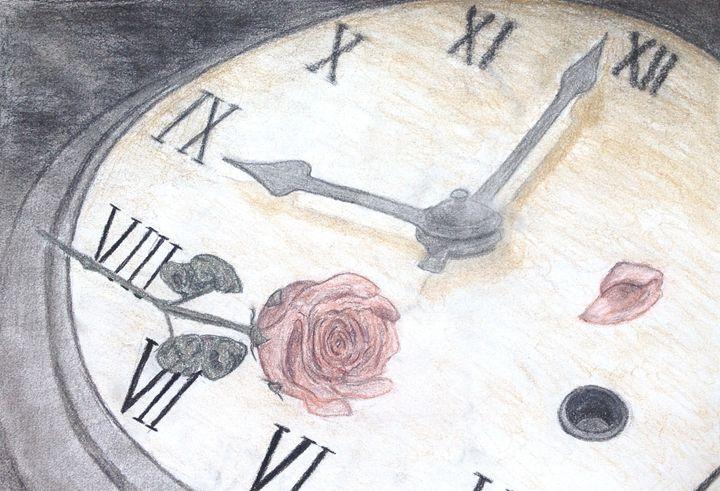 Old Clock Face and Wilting Rose - Maria Kramer Artistic Designs