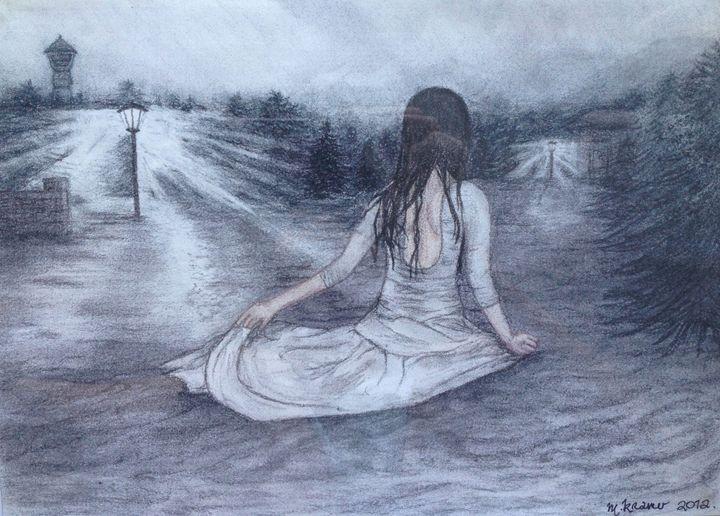 Girl in Floods - Maria Kramer Artistic Designs
