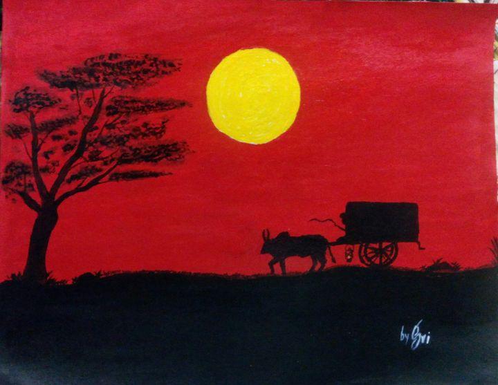 sun raising on rural area - modern paintings