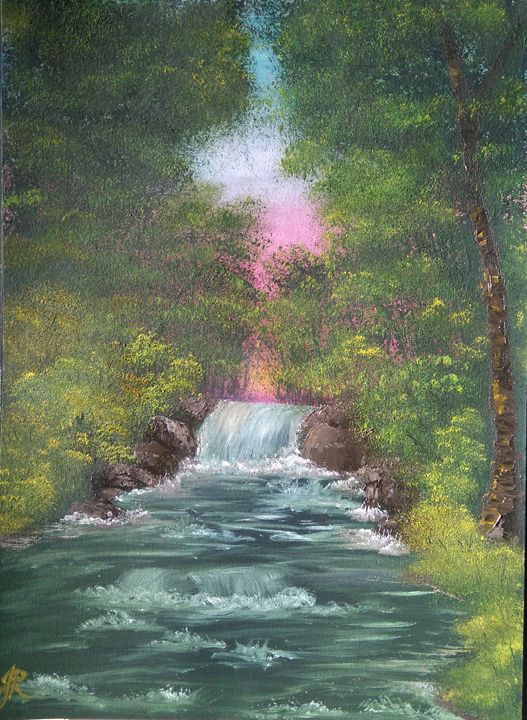 Woodland waterfall - June Rorison