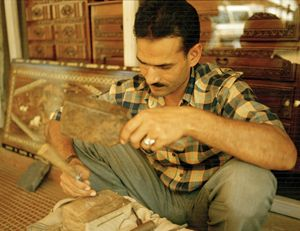wood carver in goa india