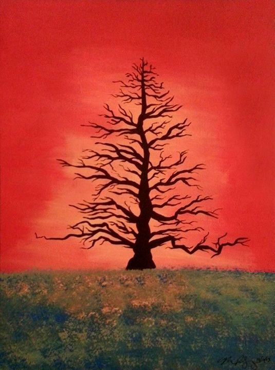 Tree At Sunset - Mo'z Art
