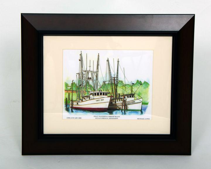 Inlet Waterway Shrimp Boats - Michael Lowe Art