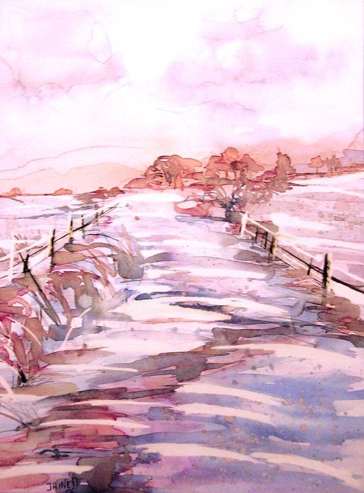 Soir sur la neige - Evening on snow - Monikart - Monique Rouquier