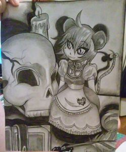 Gothic Mouse and Skull