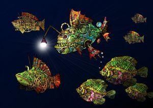 Deep sea steampunk fish