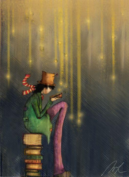 Reading at Night - Beatriz Rivera Vargas Fine Art