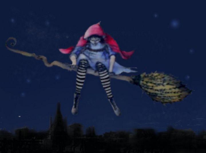 Red Riding her Broom - Beatriz Rivera Vargas Fine Art