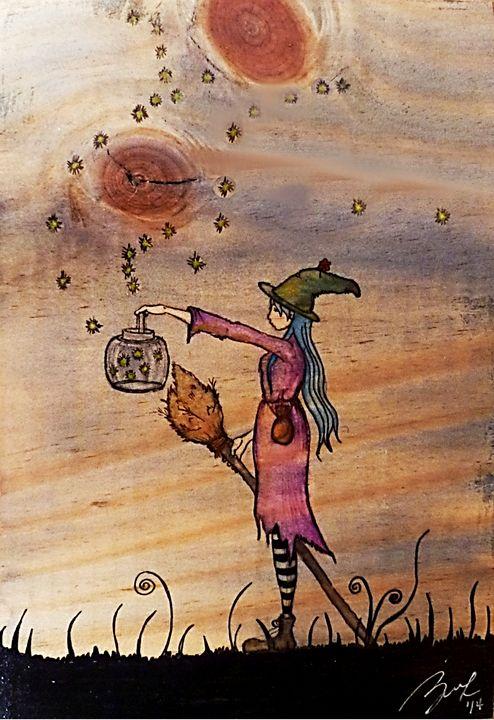 Witch with Lantern - Beatriz Rivera Vargas Fine Art