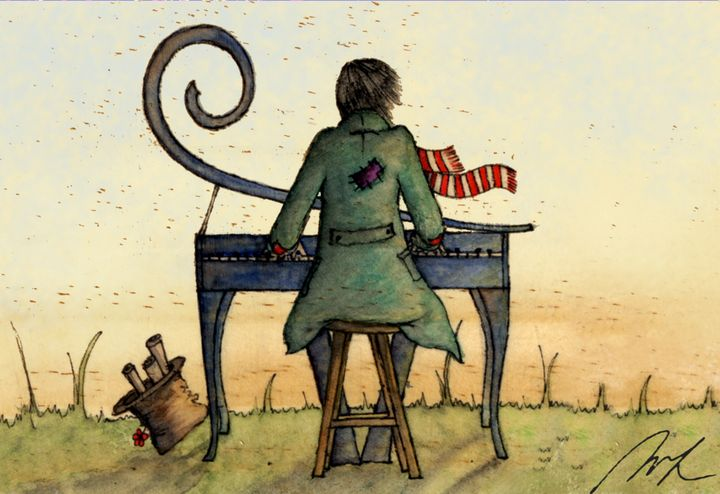 He plays at sunset - Beatriz Rivera Vargas Fine Art