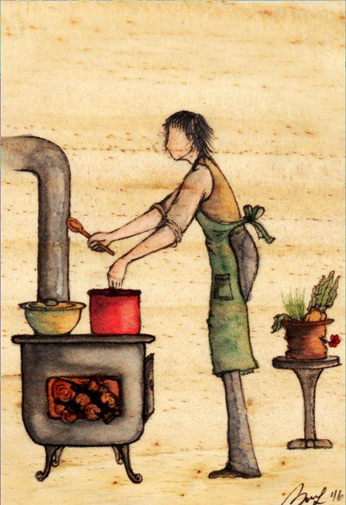 Cooking Love - Beatriz Rivera Vargas Fine Art