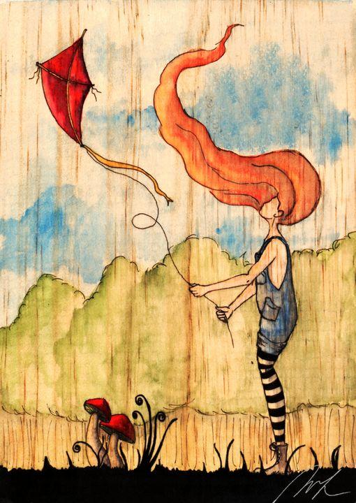 Overall and the Kite - Beatriz Rivera Vargas Fine Art