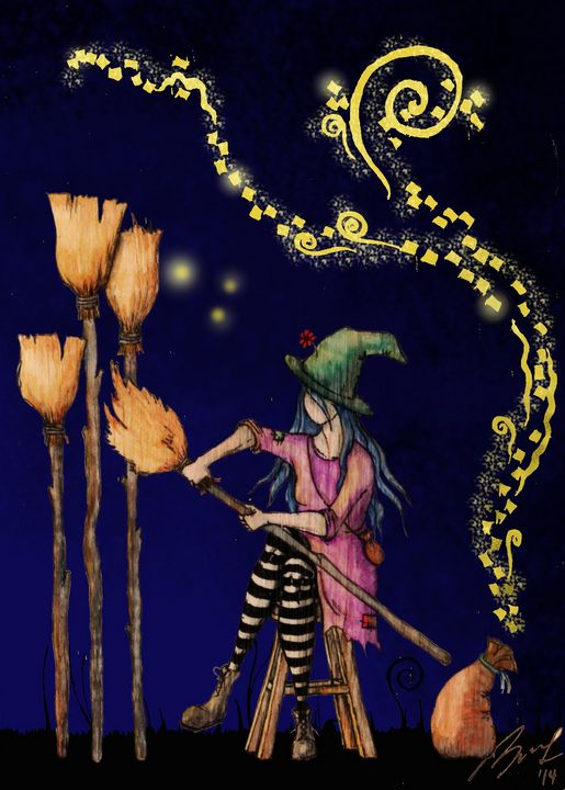 Witch Making Brooms - Beatriz Rivera Vargas Fine Art