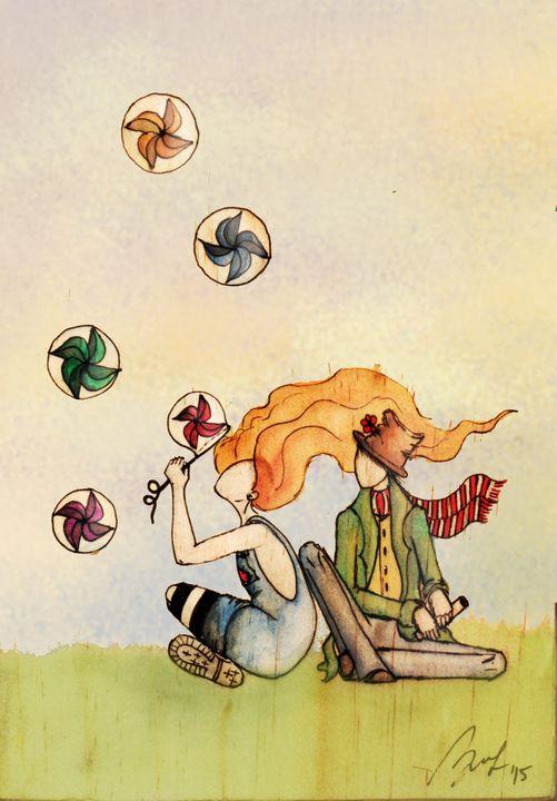 They and their windmills - Beatriz Rivera Vargas Fine Art